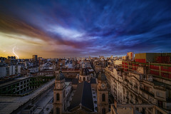 Ayer llovió en la ciudad de Buenos Aires (karinavera) Tags: city longexposure night photography cityscape urban ilcea7m2 thunderstorm lightning buenosaires sunset clouds rayos storm weather balvanera sky church
