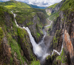 Deep fall (languitar) Tags: norway vøringsfossen panorama waterfall river valley water mountains sky photography colorefex4 hdr hugin clouds colorefex kingdomofnorway nikcolorefex norge hordaland no