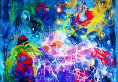 Universe. Felted wool&silk abstract painting. (pestinairina) Tags: universe painting colors texture art fiber wool pittura arte universo colori astratto abstract живопись валяние фелтинг текстура цвет искусство шерсть шелк абстрактное космос space
