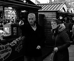 over there (LozHudson) Tags: manchesterchristmasmarkets manchester people fujifilmx100s x100s fuji blackwhite blackandwhite monochrome