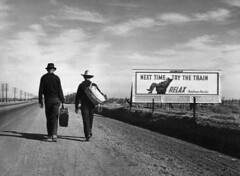BE047633 (samgracemiller) Tags: 2 advertisement billboard dustbowl19311939 greatdepression1929ca1939 highway irony males people politicalandsocialissues refugee road sign travel