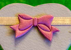 "DSC_6583-1 ~  ""#MACRO MONDAYS"" ~  ""#BUTTONS AND BOWS""  ~ ""12/4/17""  ~ (Travlin/Cindy1) Tags: macromondays macro buttonsandbows bow heart box"