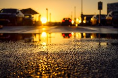Abandoned (Thierry Hudsyn) Tags: sony rx100 mkiv sunset reflections reflets reflection goldenlight goldenhour cinematic cinematicphotography schiphol parking parkinglot shallowdof bokeh