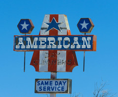 American Dry Cleaners (jimsawthat) Tags: drycleaners laundry laundromat metalsign neon vintagesign smalltown lander wyoming