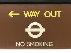 tight letterspacing 2 (smallritual) Tags: underground tube london charingcross bakerlooline johnston signage 1979