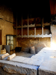 Shop of the welder, with carbonized wooden corbel at Herculaneum, buried by Vesuvius' eruption on 79 AD (Carlo Raso) Tags: herculaneum welder corbel carbonizedwood