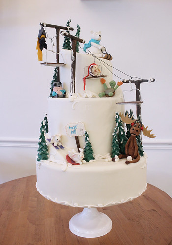 Animal Friends Ski Slope Cake