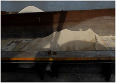 Cement industry  —  The shadows lenghtened (michelle@c) Tags: urban landscape manmade industrialaera industry cement selfportrait abstraction imprint shadow sand heap barge light quays water seine paris 2017 michellecourteau