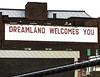 Living the Dream (Steve Taylor (Photography)) Tags: dreamlandwelcomesyou dreamland art digital sign building fence black brown white uk gb england greatbritain unitedkingdom margate lines diagonal texture stripes