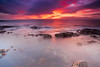 Sea of Fire (PeterYoung1.) Tags: atmospheric beautiful colours canon clouds highlights landscape light longexposure nature ocean peteryoung1 red rocks scenic scotland seascape sea sunset scottish portencross uk water