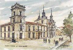 Palacio Nuevo Baztán (P.Barahona) Tags: arquitectura urbano palacio iglesia acuarela tinta calle
