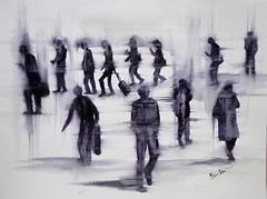 Las prisas (benilder) Tags: rush prisas ruéequotidienne acuarela sketch watercolor watercolour tintaneutra neutraltint aquarelle benilde
