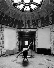 Dance me to the End of Love (sadandbeautiful (Sarah)) Tags: me woman female self selfportrait abandoned bw blackandwhite hospital ny
