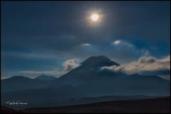 Supermoon rising over Ngauruhoe , December 4th,2017. (muzzpix-nz) Tags: nattypark supermoon moon ngauruhoe nite nationalpark tongariro national park mountain clouds bluehour volcano tramping hiking evening tama