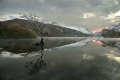 Without (PentlandPirate of the North) Tags: llynpadarn dawn snowdonia snow mist mountains lake reflections gwynedd northwales