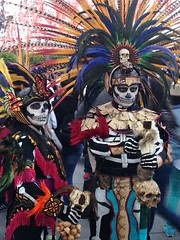 Day of the Death (brisa estelar) Tags: aztec prehispanic death festival tradition mexico colourful costume couple november handmade penacho calavera snake vibora skull outdoor