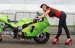 Holly_6295 (Fast an' Bulbous) Tags: bike moto motorcycle kawasaki turbo fast drag motorsport girl woman hot sexy chick babe hotty long brunette hair legs pvc leather leggings jeans high heels stilettos shoes red