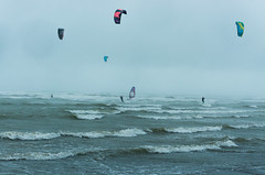 Day 280 - Tempest (cframezelle) Tags: touquet kitesurf kite watersport sport wind blue tempest waves colour color couleurs france nordpasdecalais north telezoom pentax wr mist rain fog grey sea