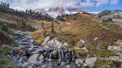 Edith in Fall (writing with light 2422 (Not Pro)) Tags: mountrainiernationalpark mountrainier stratovolcano clouds creek edithcreek fallcolors landscape richborder sonya77 washingtonstate waterfall rocks edithinfall