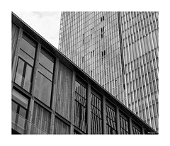 Interplay of lines. (moniquevantorenburg) Tags: interplayoflines lines city stad buildings gebouwen architecture reflecties reflections rotterdam thenetherlands nederland blackandwhite zwartwit mono monochrome olympusomdem5markii olympus124028pro mirrorless spiegelloos m43 mft microfourthirds diagonaal modern