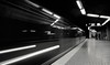 Arrived (frankdorgathen) Tags: speed train tram subway underground metro ubahn essen messe ruhrgebiet rüttenscheid traffic transportation blackandwhite monochrome light