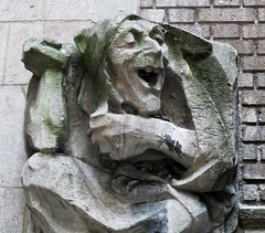 Food Gargoyles - Laughing Jester Sidewalk Level 7514b (Brechtbug) Tags: food gargoyles laughing jester sidewalk level gothic building 527 west 110th street between broadway new amsterdam upper side manhattan 10212017 nyc shadow cityscape architecture york city buildings 2017 shadows american labor seven 7 deadly sins dragons shark dolphins women men classical gnome ceramic tile golem monster gollum halloween october
