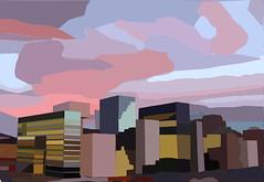 Oslo Skyline (Vers. 2) (ericgrhs) Tags: art abstract sunset skyline oslo clouds sky artistic skyscrapers buildings sonnenuntergang hochhäuser kunst gimp