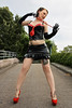 Lucy 11 (The Booted Cat) Tags: sexy model girl miniskirt black patent gloves legs whip crop mistress