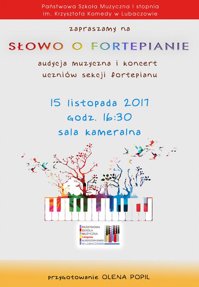 """Audycja muzyczna """"Słowo o fortepianie"""" - 15.11.2017"""