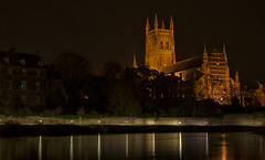 Cathedral (cliveg004) Tags: worcestercathedral worcester cathedral riversevern night river severn lights trees le longexposure walkway worcestershire nikon d5200