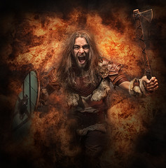 Fire Storm (Neil A Kingsbury) Tags: drama dramatic portrait model man viking armour leather weapon axe shield fire flames action