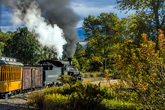 heritage steam train in the animas river valley, Colorado, USA (Russell Scott Images) Tags: steampowered locomotive train k36class 386 carriages durangosilvertonnarrowgaugerailroad railway animasrivervalley incolorado usa heritage russellscottimages