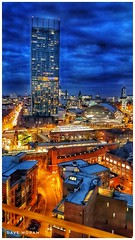 Deansgate And Beetham Tower As Seen From Work Tuesday Evening....Shot With Samsung S5. (DaveMo2017) Tags: manchester tower beethamtower skyscraper skyline cityscape city evening rushhour blue samsung smartphone deansgate tram building trees train the perfect photographer bluehour sky landscape