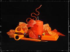 Still Life in Orange (Smiffy'37) Tags: smileonsaturday vividorange stilllife blackbackground objects orange