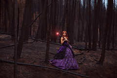 Queen Beryl (Lichon photography) Tags: queen beryl queenberyl lichonphotography meltingmirrorcosplay forest burnttree trees burn fire forestfire cosplay cosplayer witch wicca pagan dark darkfairy sailor moon evil purple dress story creative wonder spells affinity potion