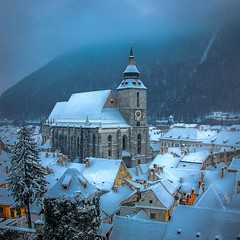 Winter Is Coming (George Nutulescu) Tags: brasov brassov town travel tower transylvania romania snow winter nikon evening evangelic orthodox cathedral postcard catholic roofs romanian 500x500 tree sky build building blackchurch