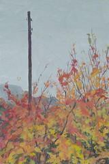 Cherry trees through the window. (Bohdan Tymo) Tags: gouache autumn tree fall yellow orange overcast