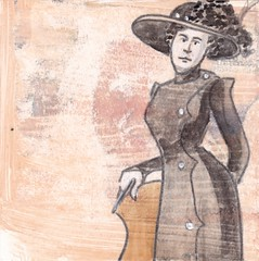 # 200 2017-11-12 (h e r m a n) Tags: herman illustratie tekening 10x10cm tegeltje drawing illustration karton carton cardboard kunst art mensen people portret portrait vrouw woman hoed hat vintage