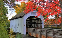 Antelope Creek Covered Bridge (pandt) Tags: antelopecreekcoveredbridge antelopecreek coveredbridge bridge eaglepoint oregon foliage outdoor sky trees orange green white footpath path clouds history historic canon eos slr 7d building architecture tree