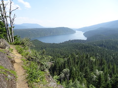 Mountain trail, BC, Canada (Tom Hazen) Tags: clearwater lake bc british columbia canada travel wells gray provincial park river lakeshore beach tree sky mountains canoe kayak outdoor sony dschx10v blue trail hike thompson nicola landscape wood forest mountainside water grass path ngc