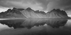 ^^^^^^^ (Robgreen13) Tags: iceland vestrahorn stokksnes blackbeach reflection clouds landscape seascape hofn bw mountains