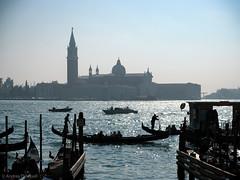 Traffic in Venice (manxmaid2000) Tags: venice water gondola taxi grand canal contrejour silo silhouette sea mist fog venetian italy gondolier