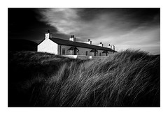 Island Views (richieJ 11) Tags: llanddwyn anglesey wales cottages mono blackandwhite maramgrass dunes