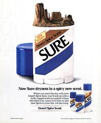 1986 Sure Desert Spice Scent deodorant (Tom Simpson) Tags: sure deodorant antiperspirant desert vintage ad ads advertising advertisement vintagead vintageads 1986 1980s