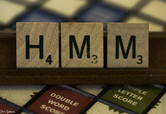 HMM for HMM! (Thad Zajdowicz) Tags: zajdowicz pasadena california usa macromonday member'schoicegamesorgamepieces scrabble game tiles numbers letters words text writing ef100mmf28lmacroisusm canon eos 5d3 5dmarkiii dslr digital availablelight lightroom indoor inside macro closeup color red green brown wood colour