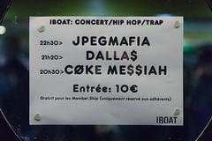 2017/11/22 22h16 affiche de concert (Iboat) (Valéry Hugotte) Tags: 24105 bordeaux dallas iboat jpegmafia affiche canon canon5d canon5dmarkiv concert hiphop musique quailawton rap nouvelleaquitaine france fr