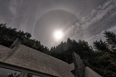 Well-adorned halo (flurryofsmoke) Tags: multnomahfalls solarhalo sun clouds weather trees house roof hrd oregon usa