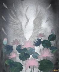祈り -  Prayer (清水みのり - Artist) Tags: weloveyouyuzu minori shimizu origami waterlilies nymphaea swan pray prayer yuzuru hanyu 清水みのり 祈り 蓮 水連 白鳥 京おりがみ 日本画 羽生結弦
