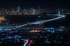grizzly terrace (pbo31) Tags: bayarea eastbay alamedacounty night dark black nikon d810 color december 2017 boury pbo31 oakland lightstream traffic motion over holidays christmas season lights sanfrancisco highway 24 80 baybridge easternspan skyline city salesforce embarcaderocenter urban grizzlypeak bay bridge sas emeryville tollplaza