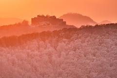 Burg Hohenneuffen (Teflonjochen) Tags: abendhimmel hohenneuffen teck schwäbischealb alb schnee winter burg ruine d500